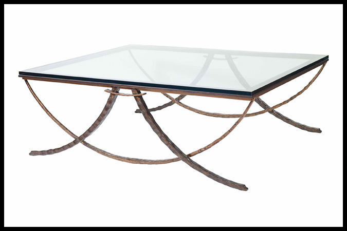 "Cocktail Table Size Shown: 54"" x 42"" x 19""H Burnished Iron, Copper and Ebony Accents"