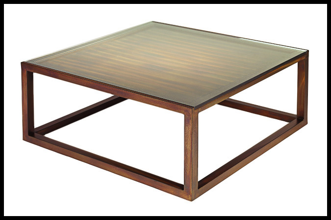 "Cocktail Table Size Shown: 40"" x 40"" x 17""H Burnished Iron Finish"