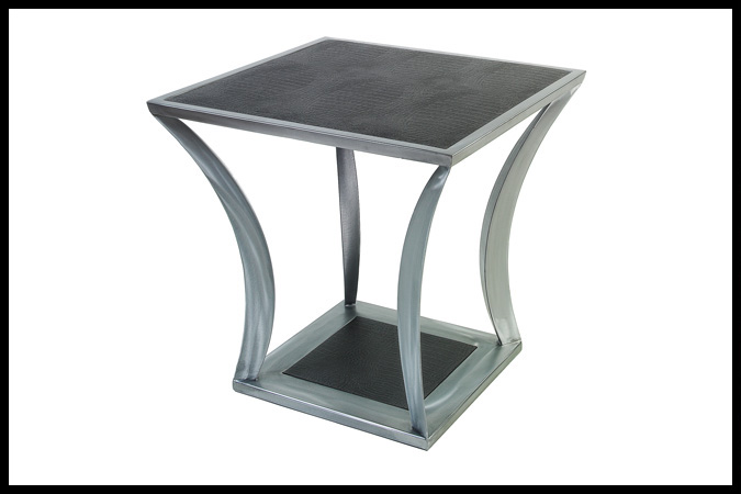 "End Table Size Shown: 26"" x 26"" x 25""H Nickel Finish with Embossed Black Leather Top"