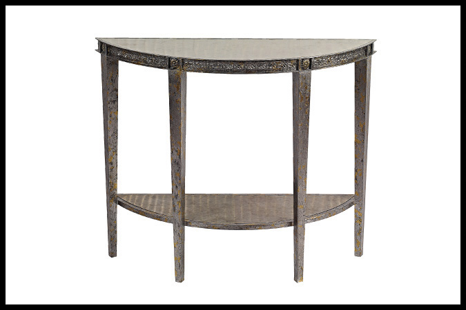 "Console Table Size Shown: 16"" x 48"" x 32""H Silver and Gold Leaf Finish with Aged Platinum Top and Shelf"