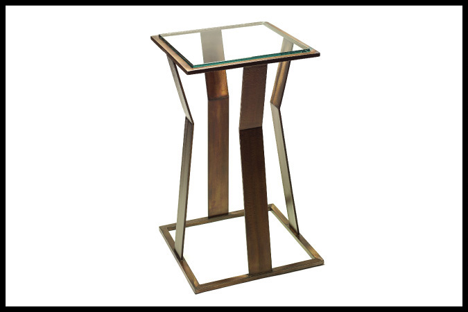 "Party Table Size Shown: 14"" x 14"" x 24""H Burnished Iron Finish Designed by Barry Johnson"