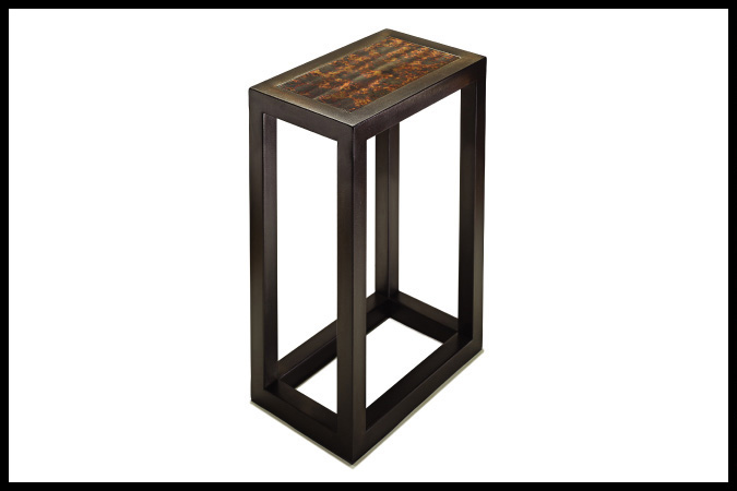 "Party Table Size Shown: 10"" x 16"" x 23""H Metal Tortoise Top Ebony Finish"