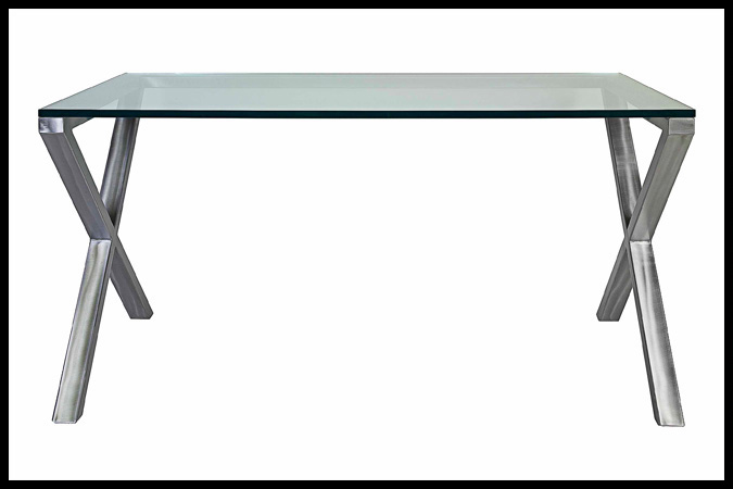 "Desk Size Shown: 30"" x 60"" x 30""H Nickel Finish"