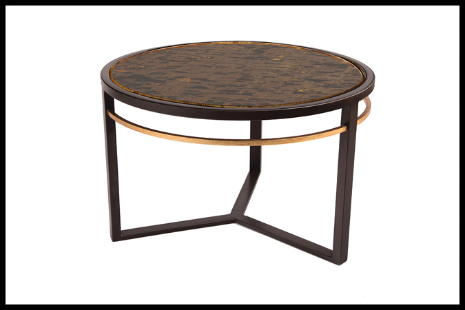 "Cocktail Table Size: 29"" Diameter x 18""H Enchanted Cork Top Dark Burnished Iron w/ Gold Leaf Trim Finish"