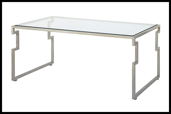 "Cocktail Table Size Shown: 26"" x 42"" x 19"" H Rubbed Silver Finish Designed by Barry Johnson"