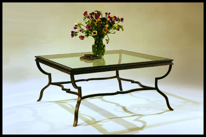 "Cocktail Table Size Shown: 38"" x 38"" x 18""H Pewter Finish"