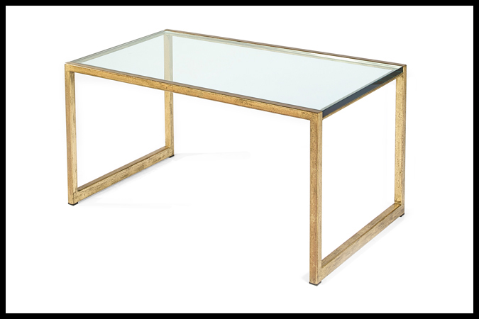 "Cocktail Table Size Shown: 22"" x 36"" x 19""H Worn Gold Leaf with 3/4"" Glass Top"