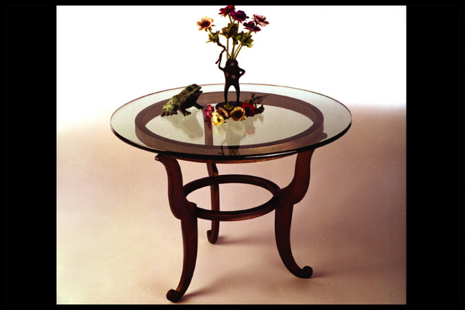 "End Tables Size Shown: 22"" Dia. x 23"" H Burnished Iron Finish"