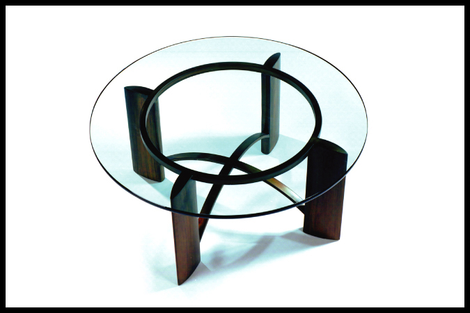 "Cocktail Table Size Shown: 37"" Dia. x 19""H Burnished Iron Finish"