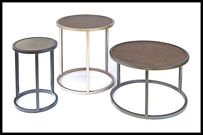 """Cocktail Size Shown: 29"""" Dia. x 18""""H Etched Bronze with Vinyl Top End Size Shown: 24"""" Dia. x 26""""H Pewter with Gold with Vinyl Top Drink Size Shown: 16"""" Dia. x 22""""H Ebony with Vinyl Top"""