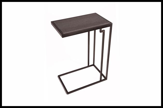 "Drink Table Size: 10"" x 16"" x 23""H Mamba Granite Top Dark Pewter Finish"