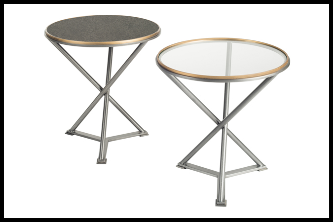 "End Table Size Shown: 24"" Dia x 25"" H with 1/4"" Glass Pewter Finish. Gold Rub Trim. Also Shown with Meteor Surface Top."