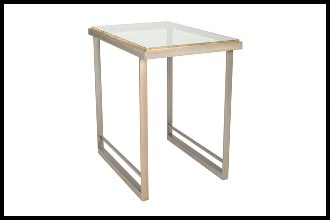 """End Table Size Shown: 18"""" x 26"""" x 26"""" H With ½"""" Glass Gold Leaf Edge. Pewter with Gold Finish."""
