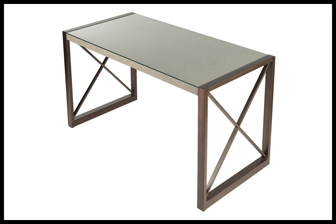 "Desk Size Shown: 26"" x 54"" x30"" H Burnished Iron Finish. Cinder Surface with ¼"" Glass."