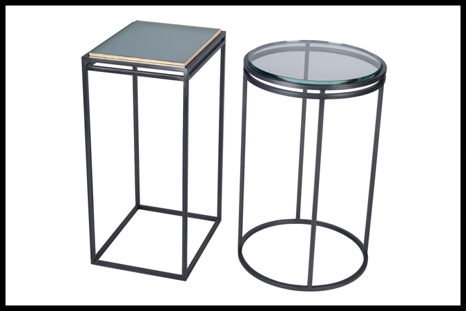 """Drink Table Size Shown: 12"""" x 14"""" x 23"""" H Dark Pewter Finish with Sandblast Glass Gold Edge. Size Shown: 16"""" Dia x 24"""" H. Pewter Finish with ½"""" Opti White Glass."""