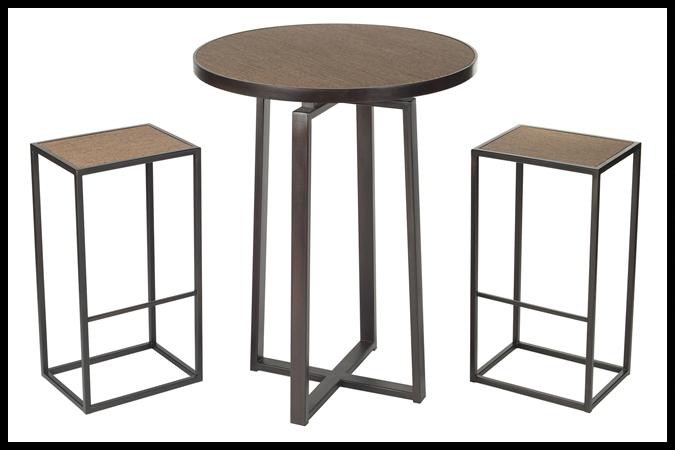 "Bar Table Bar Stool Size Shown: 32"" Dia x 42"" H. Dark Burnished Iron Finish. Sardinian Flores Surface. Size Shown Stools: 12"" x 16"" 30"" H. Dark Burnished Iron Finish. Sardinian Flores Surface."