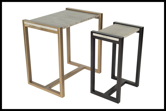 "End Table Size Shown: 18"" x 26"" x 26"" H. Ancient Brass Finish with ¾"" Grey Eel Surface. Drink Table Size Shown: 12"" x 16"" x 24"" H. Ebony Finish with ¾"" Fabu Surface."