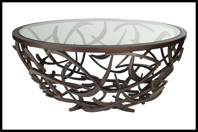 """Cocktail Table Size Shown: 42"""" Dia. x 17""""H 42"""" Dia. 3/8"""" Inset Glass Table Top Burnished Iron Finish"""