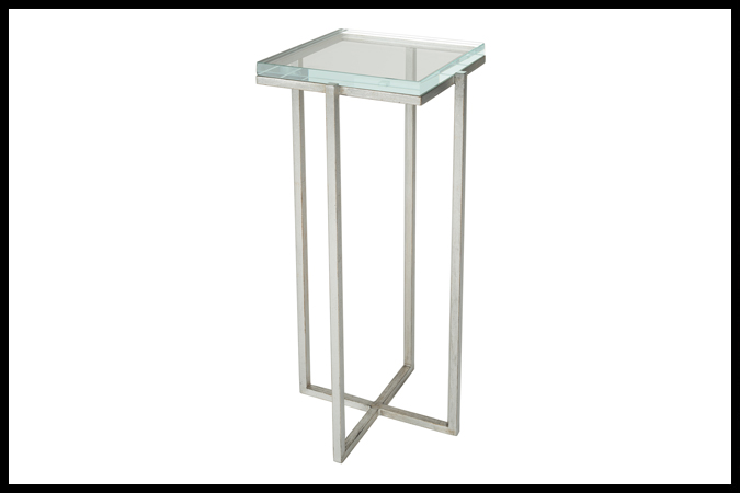 "Drink Table Size Shown: 10"" x 10"" x 23"" H Worn Silver Leaf with 3/4"" Opti White Glass."