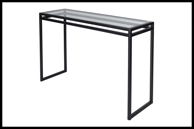"""Console Table Size Shown: 16"""" x 50"""" x 32"""" H Dark Dark Pewter with 3/8"""" Glass."""