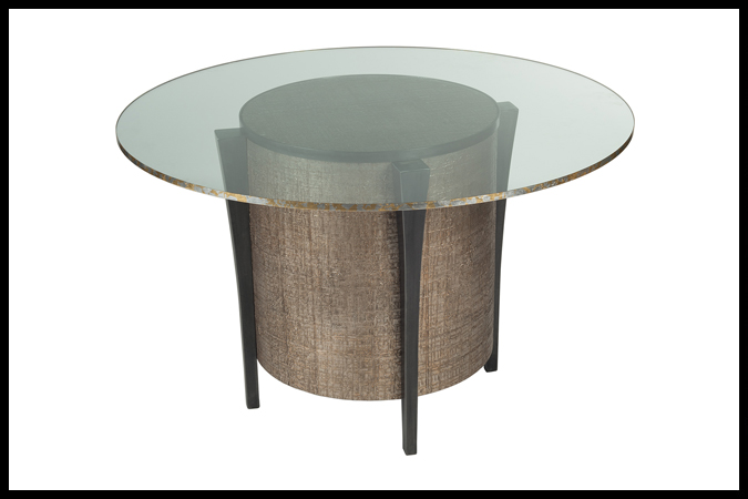 "Dining Table Size Shown: 29"" Dia x 29 ¼"" H Base With 5/8"" 48"" Dia Glass Dark Pewter Wrapped Surface."