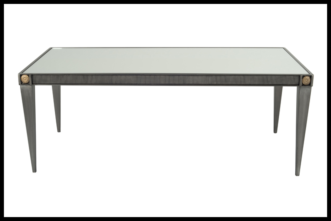 """Cocktail Table Size Shown: 24"""" x 48"""" x 18"""" H Pewter with Gold Medallions. ¼"""" Mirror Top."""