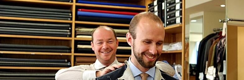 Richard fitting style icon and mens tailoring author Simon Compton.