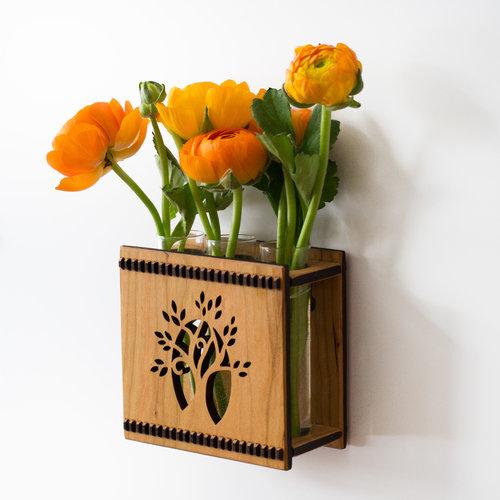Tree Triple Bud Vase Flower Vase Wall Vase Hannahs Ideas In Wood