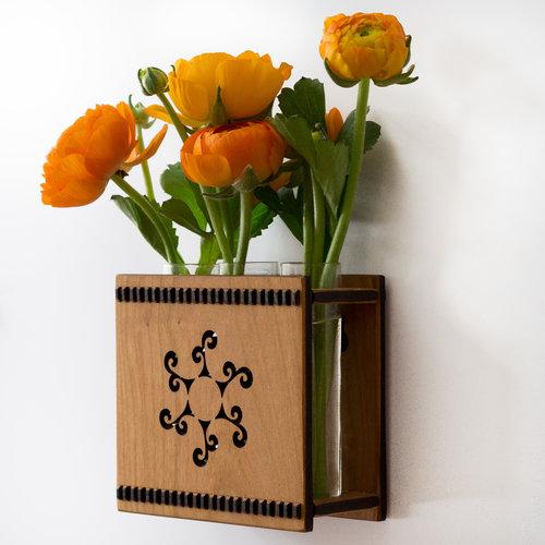 Sun Spiral Triple Bud Vase Flower Vase Wall Vase Hannahs