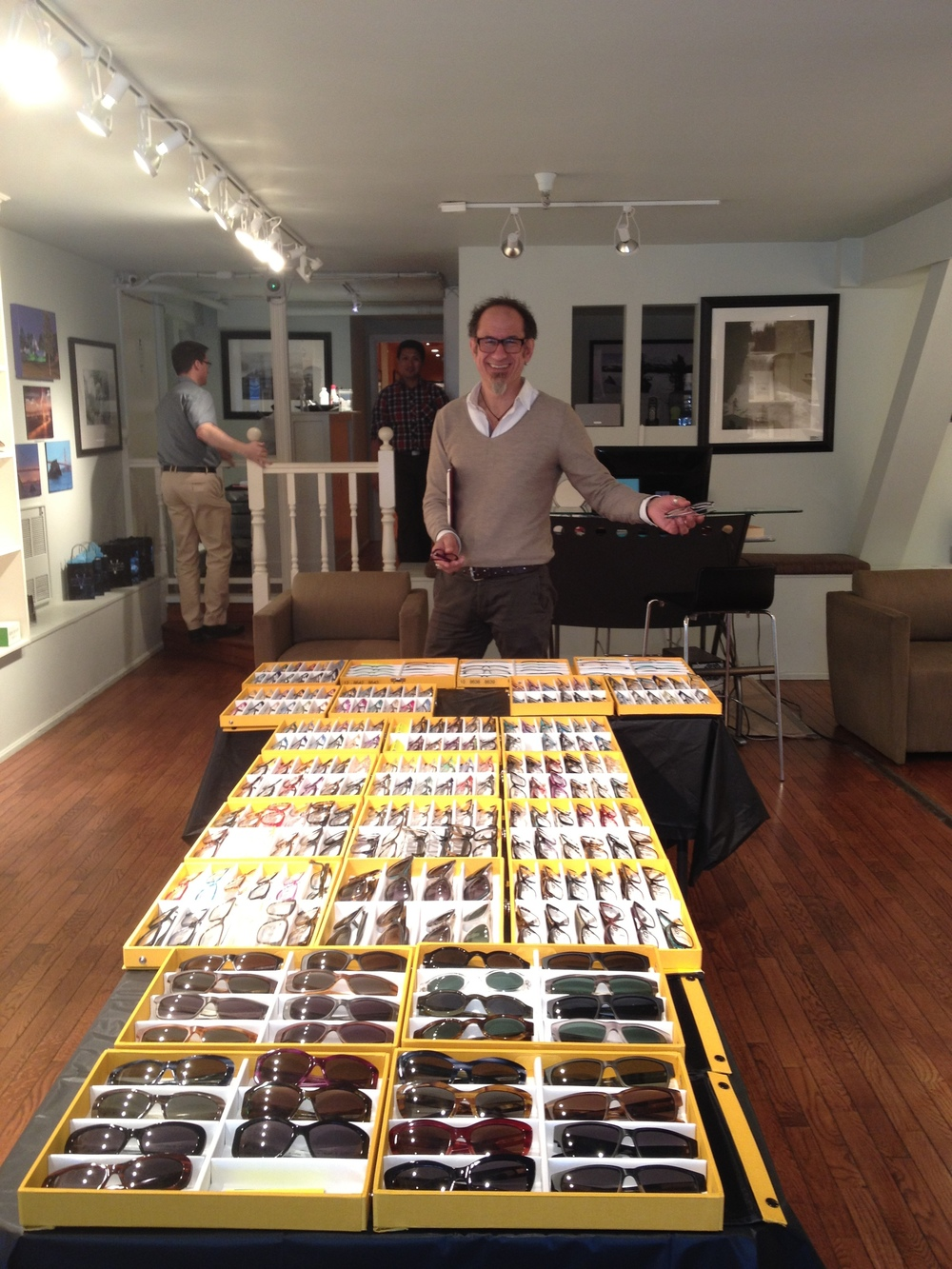 Claudio from Bevel showing off his Bevel collection.