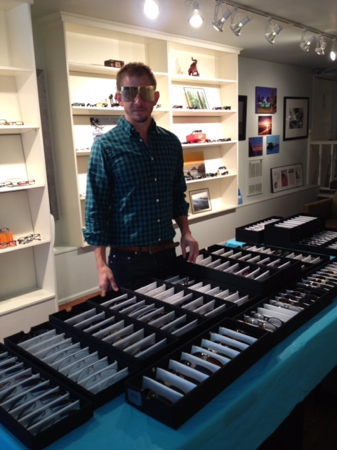 Doug showing off a futuristic look from his ic! berlin collection. Frame shown is Ritter Butzke I in gold.