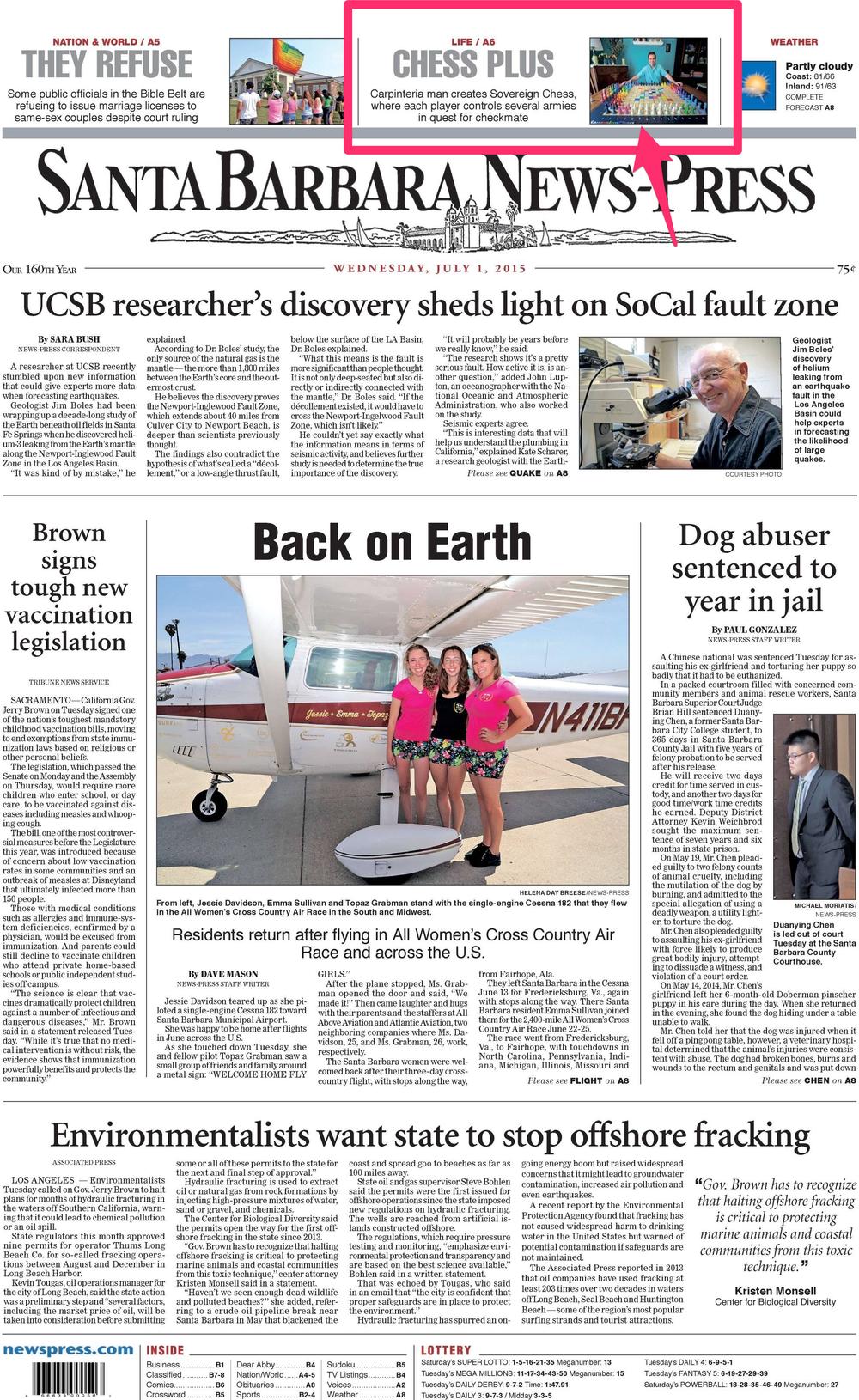 The front page of the Santa Barbara News-Press