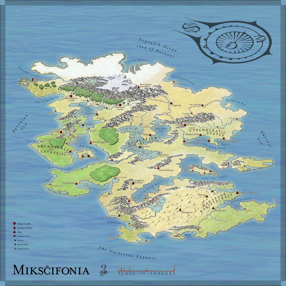 The continent-sized map of the mysterious island of Mikscifonia.