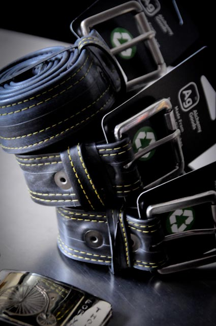 Locally produced gifts, like these belts made of recycled bike innertubes, and these buckles by local jewelry artist Wendy Woldenberg.