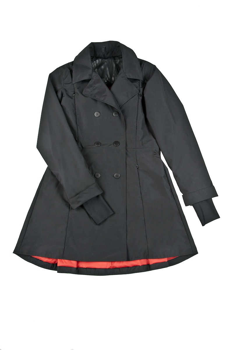 The Riding Coat is made of a waterproof nylon that keeps all but the biggest rain out. The A-line cut is flattering for many body shapes, and the pleated skirt allows unrestricted leg movement.