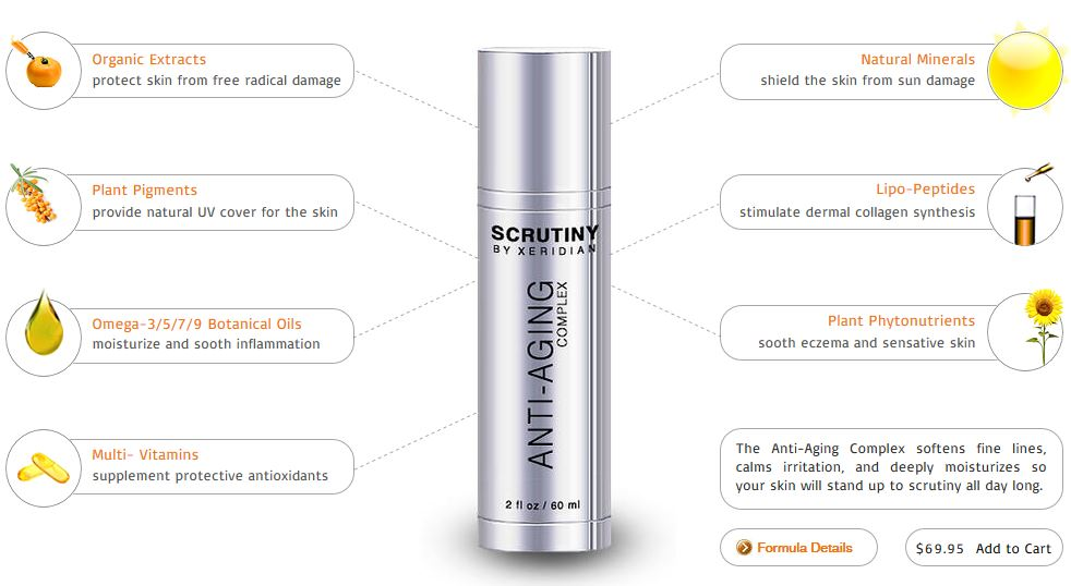 The Anti-Aging Complex        ™ is a moisturizing cream that contains our exclusive combination of photoprotective minerals, natural light-diffusers, sun-shielding plant pigments, phytonutrient-rich oils, as well as a broad spectrum of vitamins and organic extracts to calm inflammation, smooth away wrinkles, and leave a youthful, velvety finish immediately upon application. This complex can be applied at any time of the day and night, either alone or over our active serums.  The Anti-Aging Complex        ™ is usually applied during the day;  a few minutes after The Ultra Serum        ™ has absorbed.