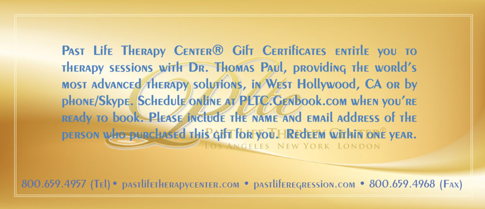 Example back side of E-Gift Card/Terms of Gift Certificates (Text color will match the card design that you request.)