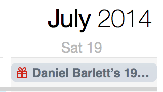 In Apple's Calendar app, birthdays appear just above the day view.