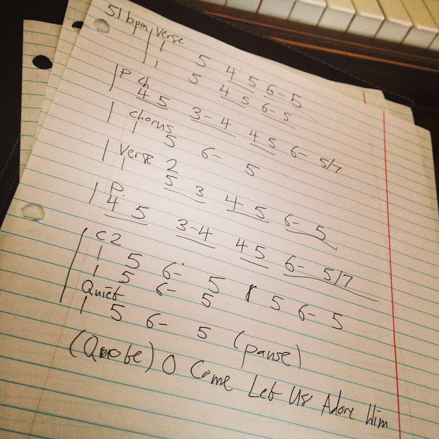 Writing out a song for a recording session last week using the Nashville Numbers system. This was my first chart, and I feel like I'm still getting used to doing this.