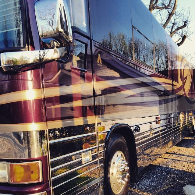 First tour bus I've ever traveled on. This thing was amazing, and longer than a few of the churches we played.