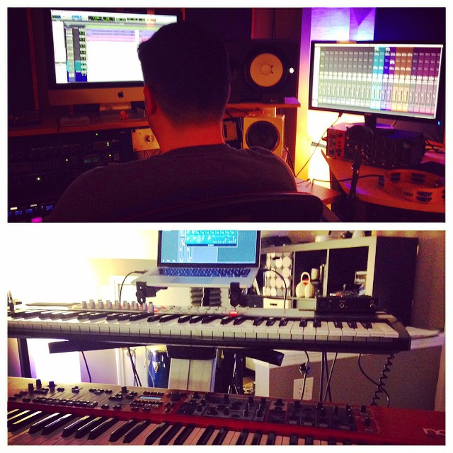 In the Ben Jackson's studio working on songs. Ben has put some serious time and money into making this an amazing project studio.