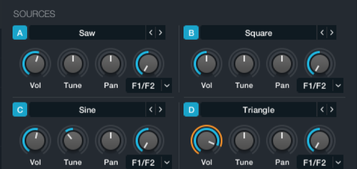 Everything starts here with 4 selectable oscillator types.
