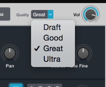 "The audio quality doesn't seem to suffer much, even in ""draft"" mode."