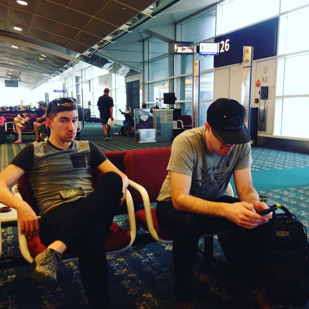 Waiting at the airport. Spencer is on the right.
