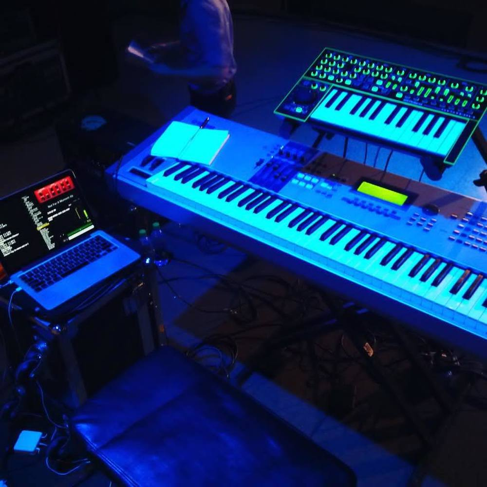 My setup for the event. Yamaha Motif, Roland Aira System-1 synth,  and Mainstage 3.