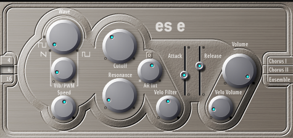 The ES E is probably my least favorite Mainstage synth- it was originally released in the early 2000's, and is really showing its age.