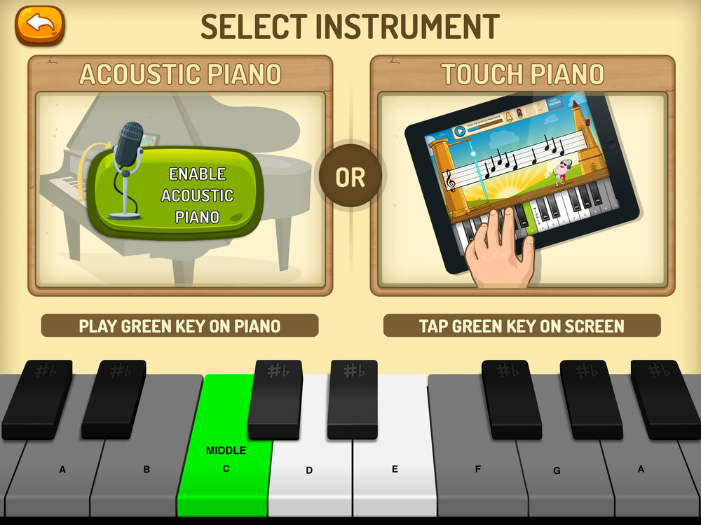 The app automatically picks up the pitch you play on the piano.