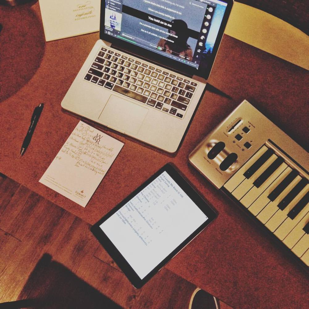 All the tools of the trade for working up songs: Spotify for audio, M-Audio keyboard for working out the details, Nashville Numbers charts on an iPad, and my handwritten one-sheet for onstage.