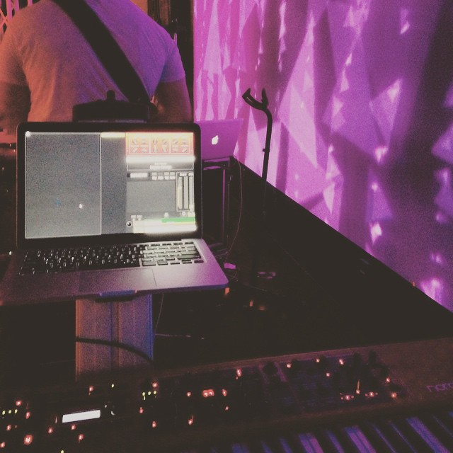 My personal Mainstage keyboard rig: Nord Stage 2, MOTU MicroBook II, MacBook Pro, and Ultimate Support Keyboard Stand.