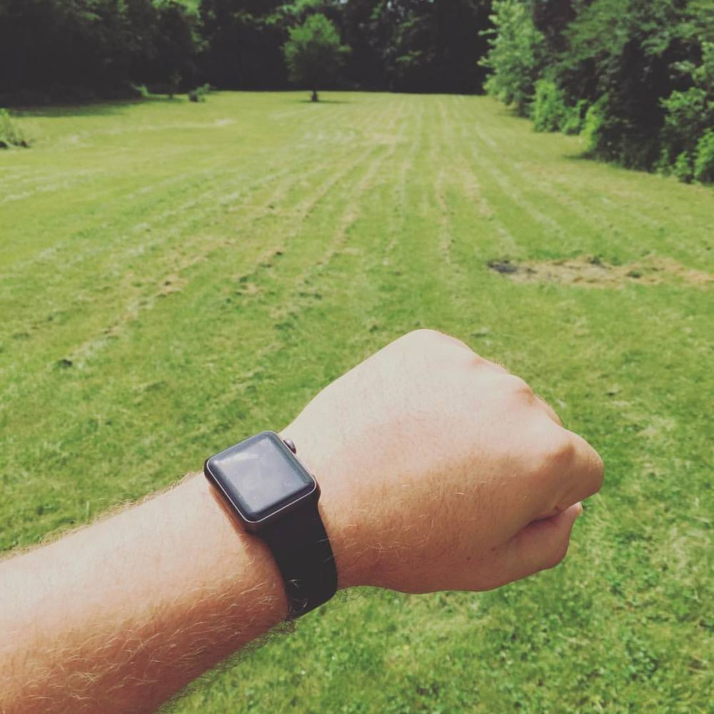 Doing sprints in the backyard. This thing is great at figuring out how many calories I'm burning by factoring in my heart rate, age, weight, and a bunch of other factors while I'm exercising.